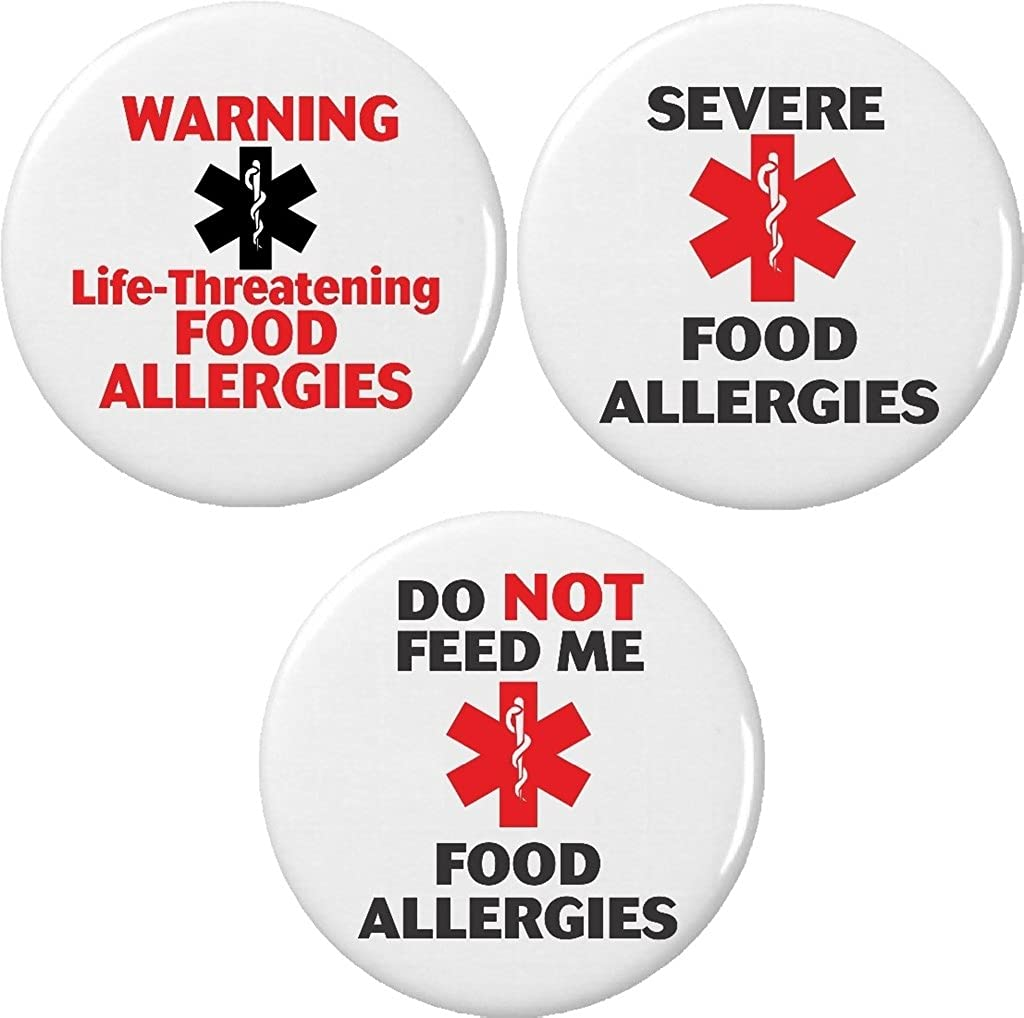 Set 3 Warning Life Threatening Food Allergies / Do Not Feed 2.25