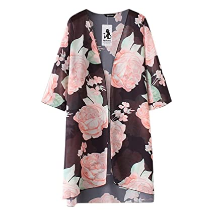 d0ba054680a Mose Women s Summer Print Cardigan Summer Plus Size Beach Floral Chiffon  Kimono Cardigans Cover Ups Small Black  Amazon.in  Home   Kitchen