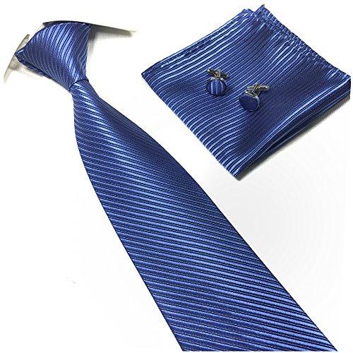 Silk Ties for Men Fitness Dating Fashion Solid Textured Necktie in Nautical Blue (Silk Chain Necktie)