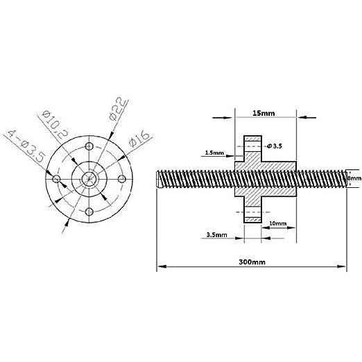 Impresora 3D Tornillo de plomo Varilla de cobre Eje Axis Z Barra ...