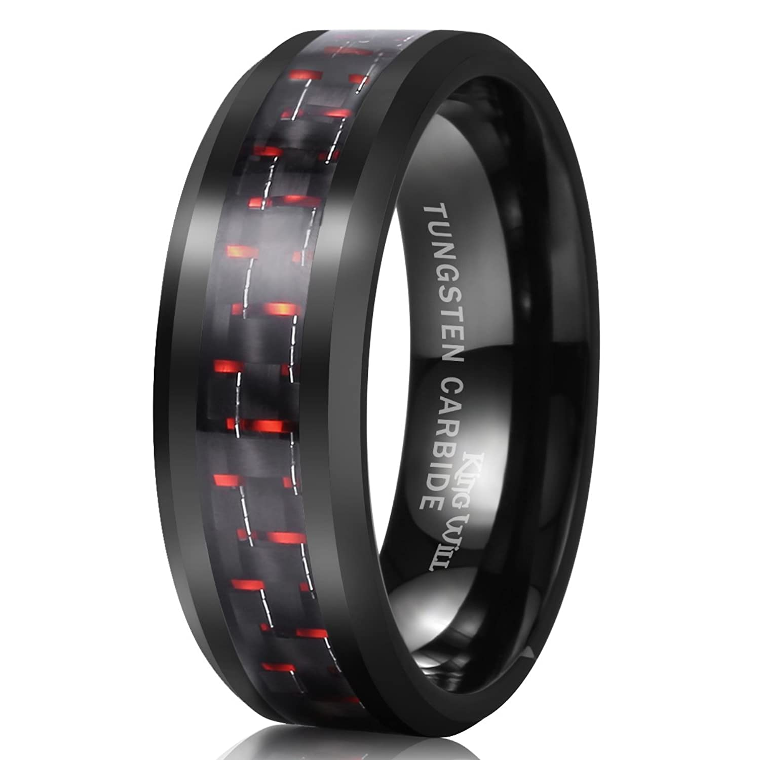 King Will GENTLEMAN 8mm Black and Red Carbon Fiber Inlay Tungsten