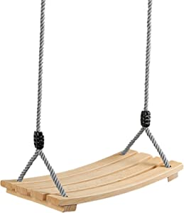 Wood Swing Sets Adult Kids Durable Hanging Tree Swing Seat for Garden Backyard Indoor Outdoor with 80'' Height Adjustable Rope