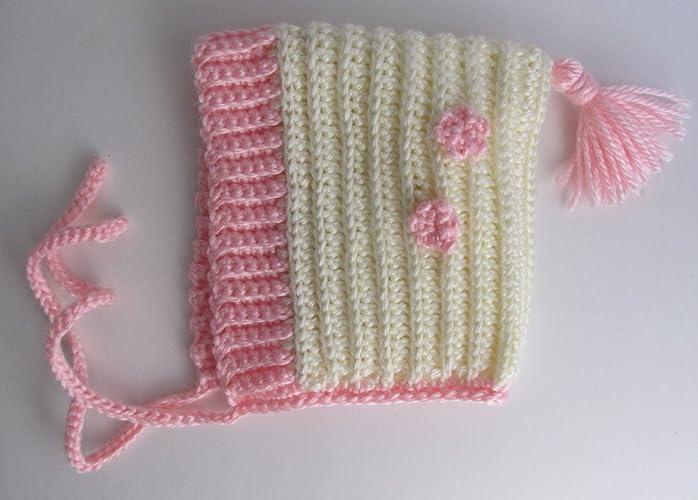 Amazon Crochet Pink And Ivory Newborn Baby Pixie Hat Pink
