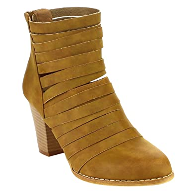Urban-04 Women's Rear Zipper Cut Out Strappy Stacked Chunky Ankle Booties