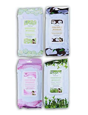 4 Pack Makeup Remover Wipes - Face Cleansing Towelettes - Hypoallergenic & Dermatologist Tested Make up