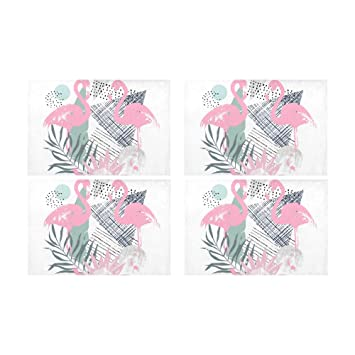 Menedo Summer Cute Animal Flamingo Pink Kitchen Printed Stain Resistant  Heat Insulation Washable Square Table Mat 1fa0516b5