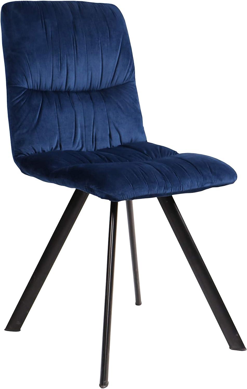 Fendini Ambre Chaise, Velours, Bleu Nuit, L L 45 x P 51 x H