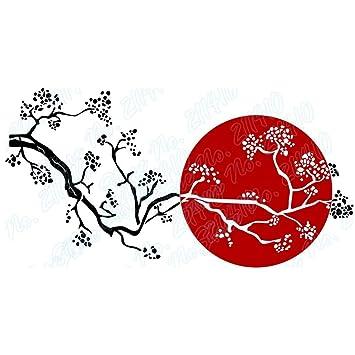 Charmant Wllenen Sticker Mural Sakura Soleil Levant Japonais Cerisier En Fleurs  Branche Du0027arbre Restaurant Décor