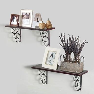 AHDECOR Floating Shelves Wall Mounted Storage Ledge Shelf Set of 2 (Espresso Brown)