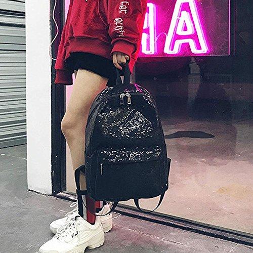 Everpert Women Sequins Bag Large Backpacks School Travel Girls Black Size Shining Shoulder TrAZqxT