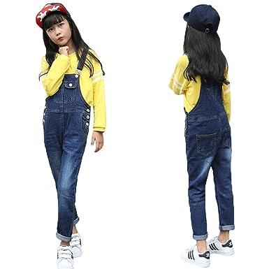 2f5c652067e Amazon.com  Digirlsor Kids Girls Distressed Bib Pants Overalls Blue ...