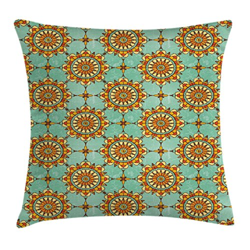 Moroccan-Throw-Pillow-Cushion-Cover-by-Ambesonne-Ornamental-Abstract-Moroccan-Motif-with-Old-Fashion-Victorian-Influences-Artwork-Decorative-Square-Accent-Pillow-Case-Mint-Orange