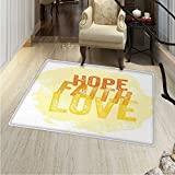 Hope Area Rug Inspirational Religious Hope Faith Love Quote with Grunge Letters Indoor/Outdoor Area Rug 24''x36'' Orange Yellow and Pale Yellow