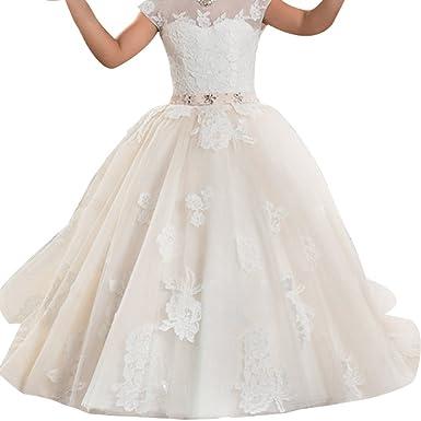 Kids Big Girls Tulle Lace Gauze Flower Bowknot Dress School Girls Communion Ball  Gown Dance Pageant ad041cfda2b1