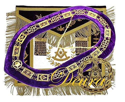 DEURA Masonic Grand Lodge Past Master Apron + Chain Collar Purple + Jewel Complete Set