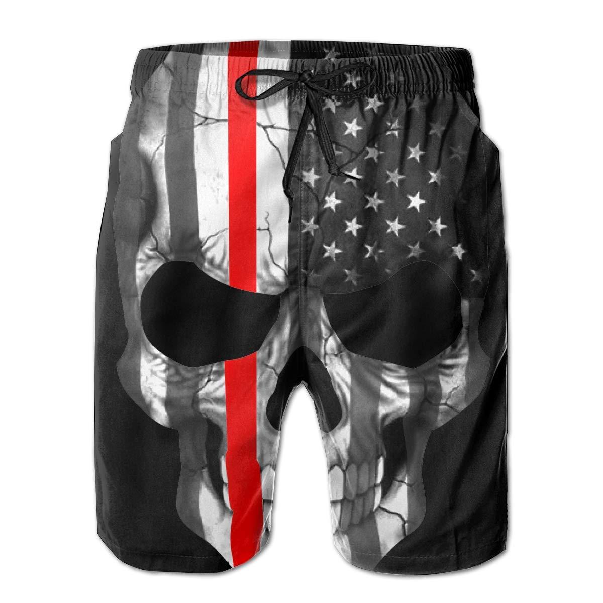 Firefighter Sticker Thin Red Line Skull Boardshorts Mens Swimtrunks Fashion Beach Shorts Casual Shorts Swim Trunks