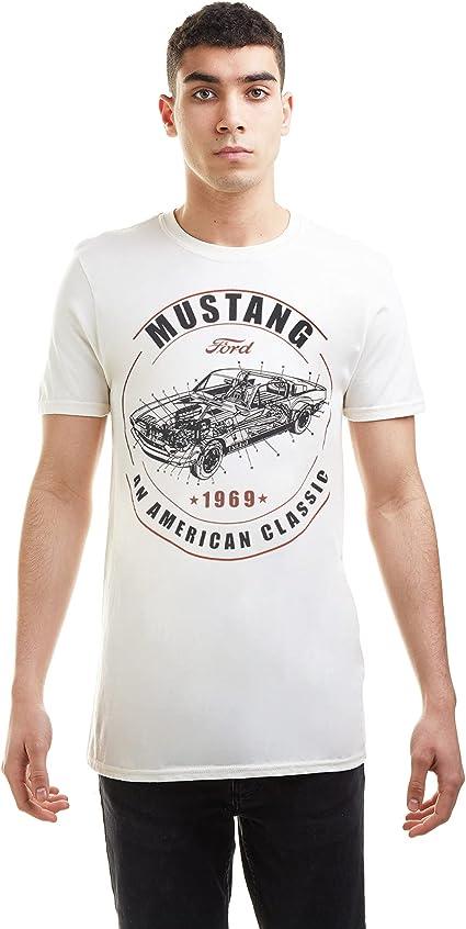 Homme Ford Mustang T Shirt Vert à Rayures Rétro Classique Vintage American Muscle Car