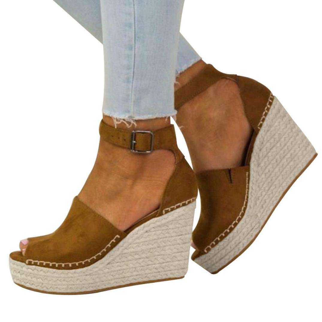 vermers Clearance Women Platform Shoes - Fashion Dull Polish Sewing Peep Toe Wedges Hasp Sandals(US:7, Brown)