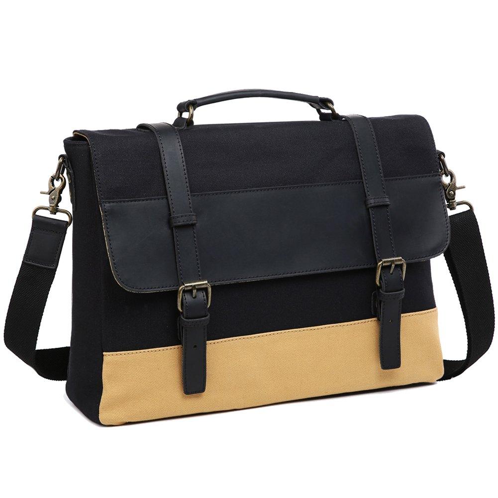 Lecxci Men Laptop Messenger Bag Waterproof Vintage Genuine Leather Waxed Canvas Business Briefcase Large Satchel Shoulder Bag Rugged Leather Computer Bag for Work, College, Travel (Black)