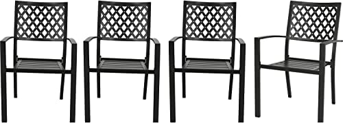 Patio Tree Stacking Outdoor Dining Chairs Steel Slat Seat Arm Chairs Set of 4