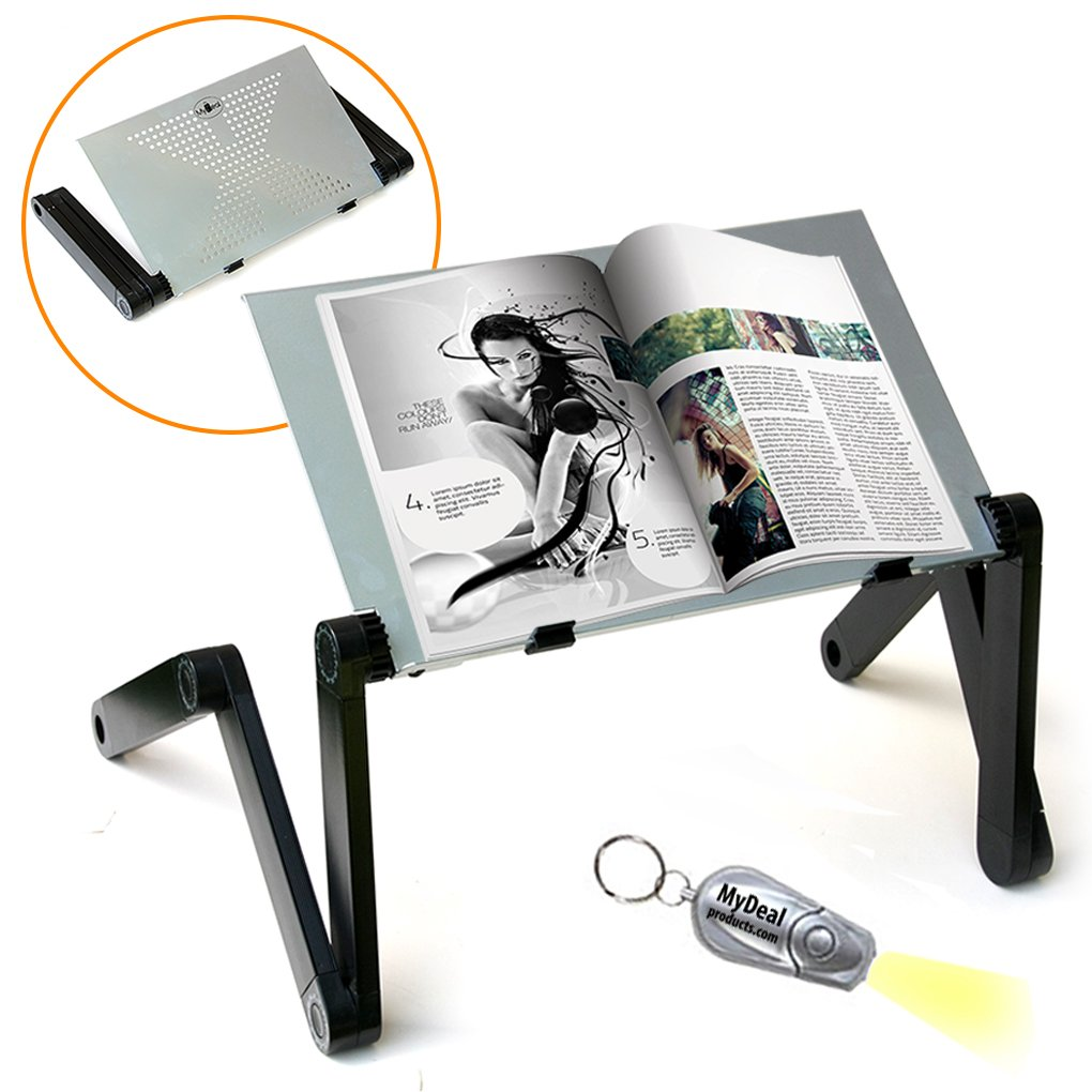 QuickLIFT Book & Magazine Portable Stand with Easy Set-Up & Adjustable Height / Angle for Mounting on Desk / Bed / Couch / Floor. Includes Flashlight by MyDeal 4328576530