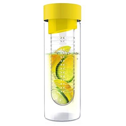 Asobu Flavor It Botella de agua de vidrio de 20 onzas con infusor de fruta