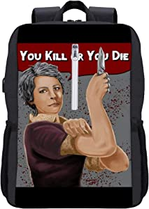 Walking Dead Carol You Kill Or You Die Rosie Riveter Pose Backpack Daypack Bookbag Laptop School Bag with USB Charging Port