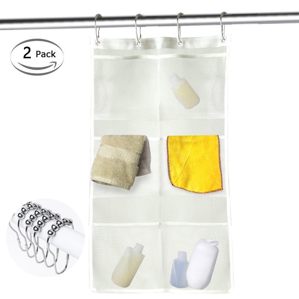 Hisight 2 Pack Quick Dry Hanging Mesh Bath Shower Organizer Shower Curtain with 6 Mesh Pockets and 4 Rings Hang on Rod Liner Hook Bathroom Save Space Bag Shampoo Conditioner Soap Storage (white)