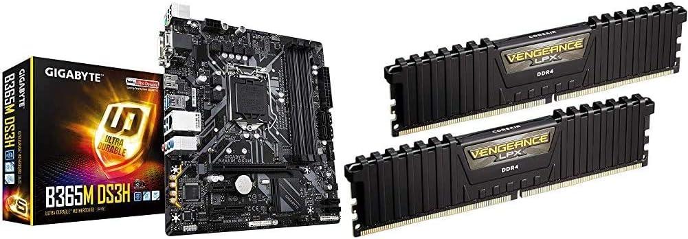 Gigabyte B365M DS3H (LGA1151/Intel/Micro ATX/USB 3.1 Gen 1 (USB3.0) Type A/DDR4/Motherboard) & Corsair Vengeance LPX 16GB (2x8GB) DDR4 DRAM 3000MHz C15 Desktop Memory Kit - Black (CMK16GX4M2B3000C15)