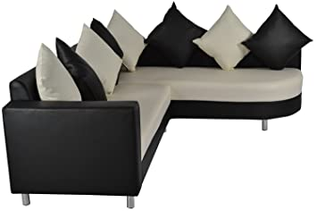 Furniture Concepts Five Seater Sectional Sofa Set (Black And Cream)