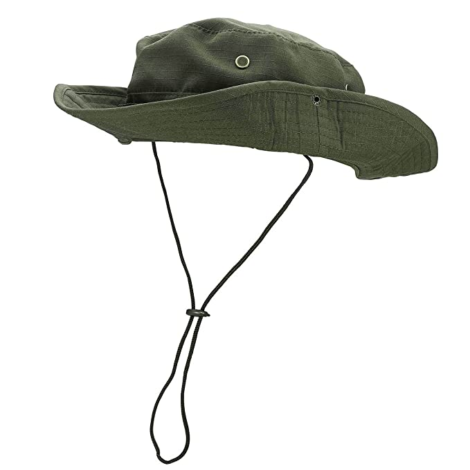 3ea5bff6285 Image Unavailable. Image not available for. Color  FALETO Outdoor Boonie Hat  Wide Brim Breathable Safari Fishing Hats UV Protection Foldable Military Cap
