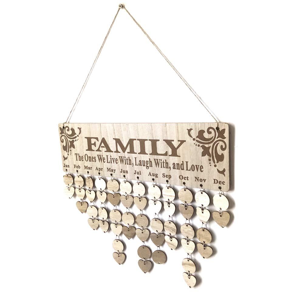 SDGDFXCHN DIY Familie h/ängende Kalender Holzbrett Geburtstag Erinnerung Plaque Home Decor f/ür Geburtstag Events