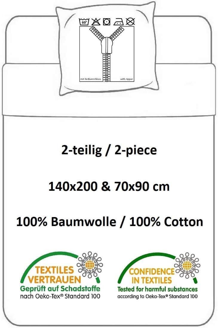 Multicolore 100 /% coton 70 x 90 cm MB-2232 Parure de lit r/éversible Masha et Michka avec housse de couette et taie doreiller 140 x 200 cm Halantex