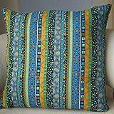 TAOSON Blue Stripe Bohemian Style Antique Cotton Blend Linen Sofa Throw PillowCase Cushion Cover Pillow Cover with Hidden Zipper Closure Only Cover No Insert 18x18 Inch 45x45cm