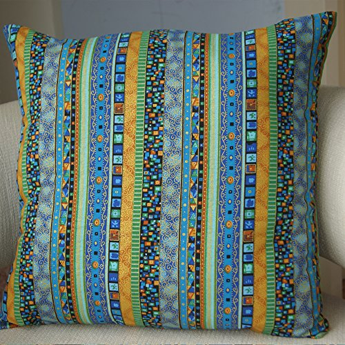 TAOSON Blue Stripe Bohemian Style Antique Cotton Blend Linen Sofa Throw PillowCase Cushion Cover Pillow Cover with Hidden Zipper Closure Only Cover No Insert 20x20 Inch 50x50cm by TAOSON