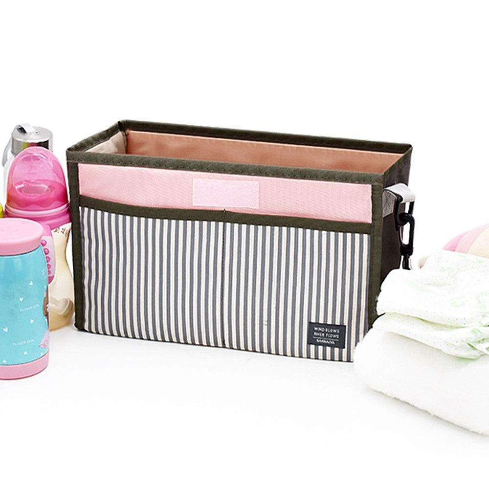 Stroller Organizer Universal Baby Stroller Organizer Bag/Diaper Bag with Cup Holders for Bottles,Diapers,Toys Baby Diaper Bag for Mom and Dad 2 Colors Parents Stroller Organizer Bag