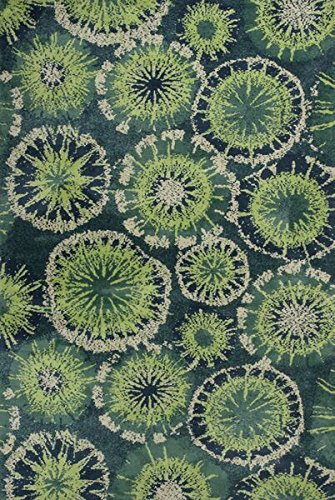 KAS Rugs Allure Collection Starburst Area Rug, 5-Feet X 7-Feet, Green ALU40605X7