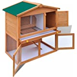 Festnight Outdoor Pet Cage Kennel Rabbit Hutch Small Animal House 3 Doors 2 Layer Wood (Type1)