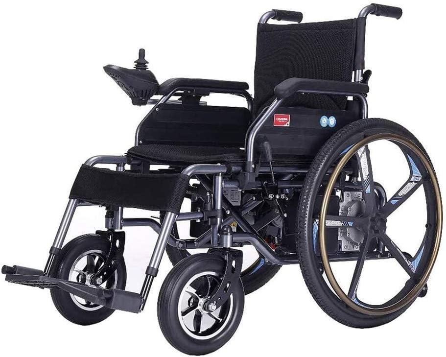 Silla de ruedas eléctrica ligera (Batería de iones de litio de 24 A), Plegable Bifuncional Se puede conducir eléctricamente o usarse como silla de ruedas manual Motores duales Freno electromagnético A