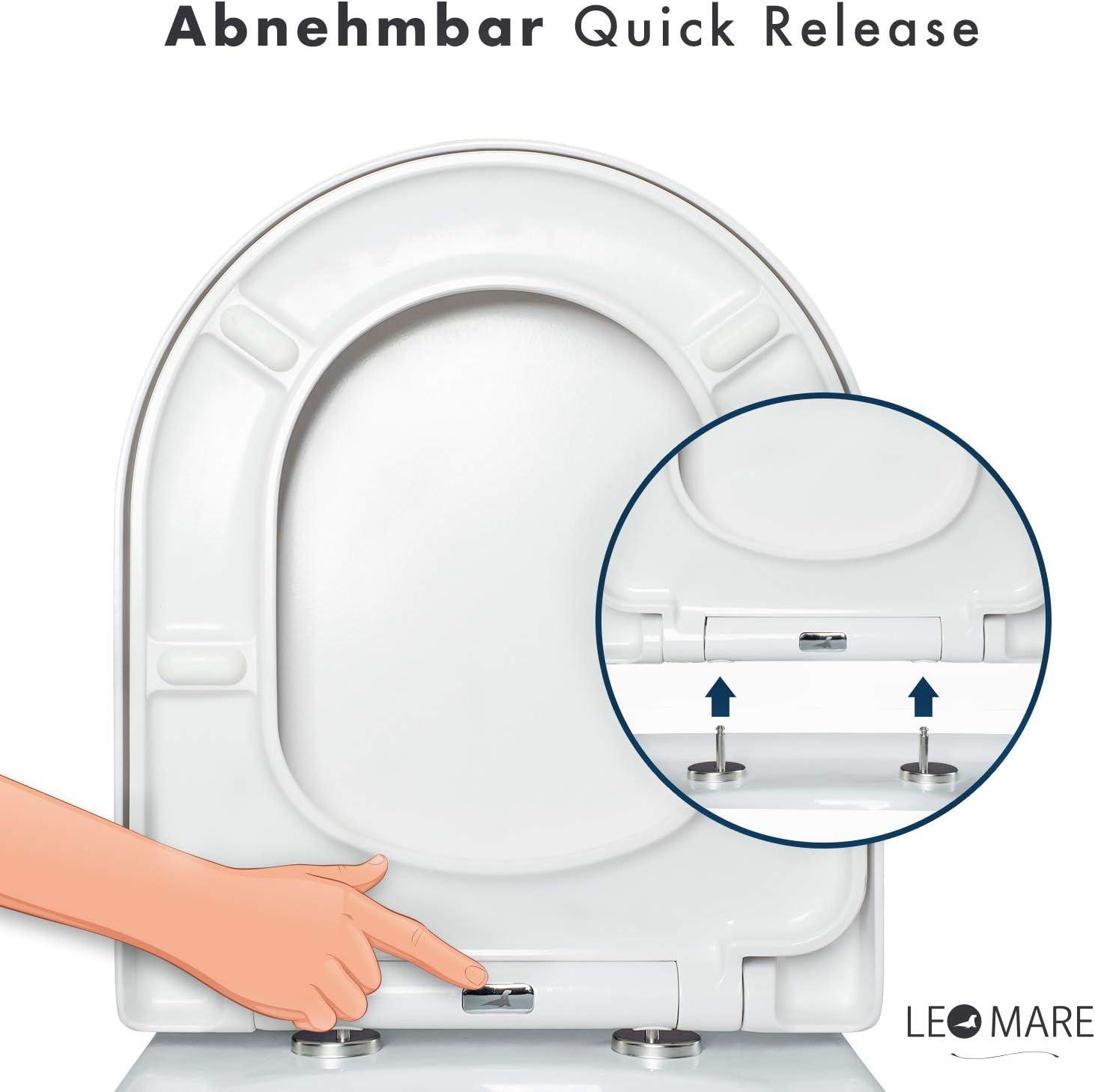 montage facile Duroplast blanc couvercle de toilettes amovible Soft Close couvercle lunette de toilettes antibact/érienne Abattant de WC forme D haut de gamme avec frein de chute