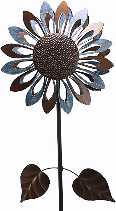 hourflik Kinetic Sunflower Wind Spinners with Stake Metal Garden Spinner with Reflective Painting Unique Lawn Ornament Wind Mill for Outdoor Yard Lawn Garden Decorations (Bronze)