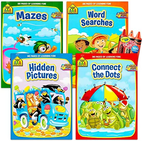 School Zone Activity Book Set Kids- 4 Books with Reward Stickers (Mazes, Connect The Dots, Hidden Pictures, Word Searches, Stickers)