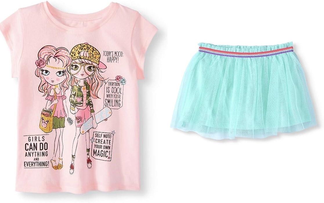 6425b4d94 Amazon.com: Garanimals Girls' Short Sleeve Graphic T-Shirt and MESH Scooter  Skirt, Size 7(Aqua/Pink): Clothing