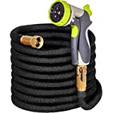 """50ft Garden Hose - ALL NEW Expandable Water Hose with Double Latex Core, 3/4"""" Solid Brass Fittings, Extra Strength Fabric - Flexible Expanding Hose with Metal 8 Function Spray Nozzle by Hospaip"""