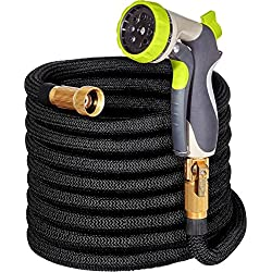 "50ft Garden Hose - ALL NEW Expandable Water Hose with Double Latex Core, 3/4"" Solid Brass Fittings, Extra Strength Fabric - Flexible Expanding Hose with Metal 8 Function Spray Nozzle by Hospaip"