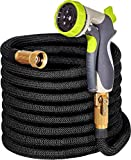 50ft Garden Hose - ALL NEW  Expandable Water Hose with Double Latex Core 34 Solid Brass Fittings Extra Strength Fabric - Flexible Expanding Hose with Metal 8 Function Spray Nozzle by Hospaip