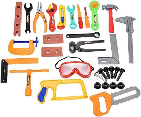 Juegos de herramientas para niños Juguetes, caja de herramientas de reparación de casco de simulación de plástico Caja de herramientas de juego de simulación para niños Juguete de rompecabezas: Amazon.es: Bebé