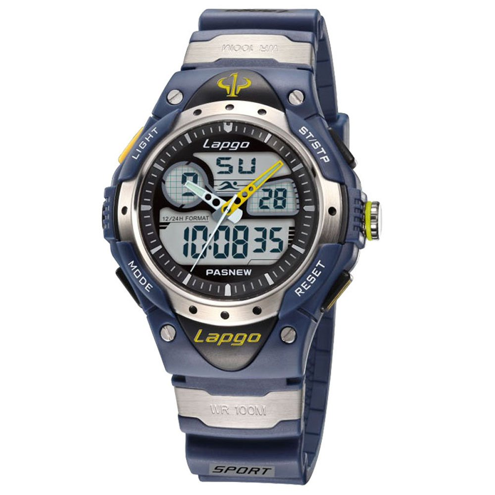 Sports Watches, PASNEW Analog Digital Dual Time Watch Waterproof Sports Casual Boys Wrist Watches for Kids 388ad Blue