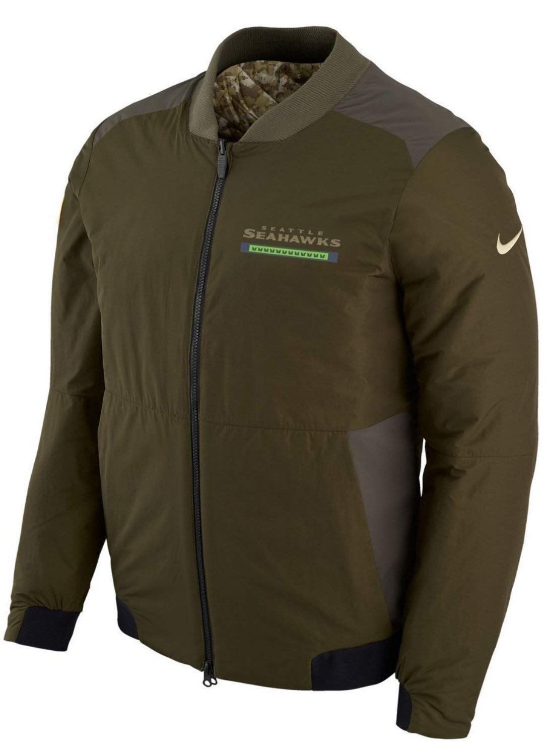 c6701e51af6 Amazon.com : seattle Seahawks Nike NFL Salute to Service Men's Reversible  Bomber Jacket : Sports & Outdoors