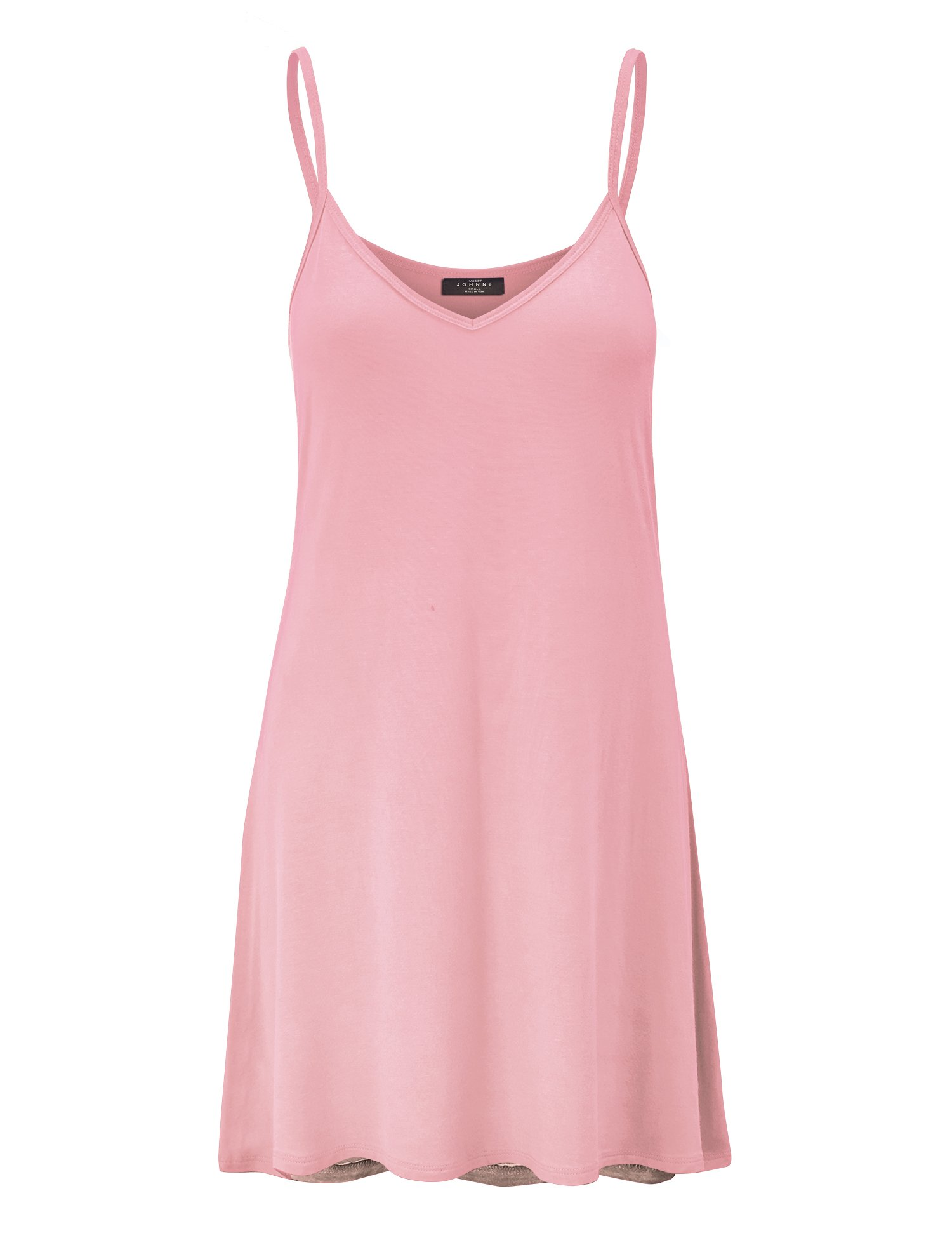 WDR1090 Womens V Neck Spaghetti Strap Tunic Short Dress S Pink by Lock and Love (Image #2)